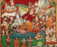 Sheshasayi Vishnu - Water Color Mysore Painting on Paper - Artist: Chandrika Mysore Painting, Kerala Mural Painting, Tanjore Painting, Silk Painting, Shiva Art, Hindu Art, Indian Gods, Indian Art, Paper Artist