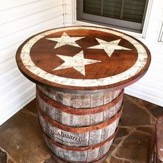 We created a large 3' custom Tennessee Tristar tabletop for a client's old barrel and now a great addition for her pool area. These reclaimed and rustic tabletops can be custom made to any size. Contact us at signniche@yahoo.com to order yours! Waterproof and easy to clean!