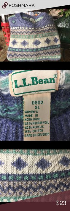 L.L. Bean Women's XL Sweater Beautiful blue multicolored women's sweater by LL Bean. Made out of Wool, Acrylic and Cotton. Functional enough to wear skiing or sitting around a camp fire! LL Bean Sweaters Crew & Scoop Necks