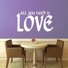All You Need is Love Wall Decal No 2 - Small | GeekeryMade - Housewares on ArtFire