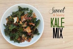 Baked Kale Chips. Sweet and savory baked kale chips snack mix, made with crispy kale, apples, dates and coconut oil. Healthy and nutritious!