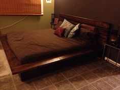 Hand made rustic platform bed king by WestCustoms on Etsy