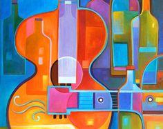 Cubista pintura abstracta Arte Original acrílico por MarlinaVera