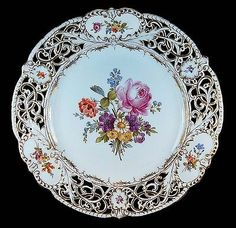 Just a gorgeous piece of authentic antique Dresden porcelain china in a remarkably beautiful pattern! Antique Plates, Vintage Plates, Antique China, Vintage China, Rare Antique, Decorative Plates, Dresden Porcelain, Fine Porcelain, Porcelain Ceramics