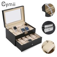 (69.96$)  Watch more here - http://aicln.worlditems.win/all/product.php?id=32789236755 - Cymii PU Leather 20 Grids Watch Display Case Box Jewelry Storage Organizer Elegant Watch Holder Box Gifts Organizer caja reloj