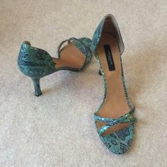 "New Ann Taylor heels 3 1/2 inch shiny ""cruise blue"" metallic sandals.  Never worn, I still have the box, size 8M. Ann Taylor Shoes Heels"