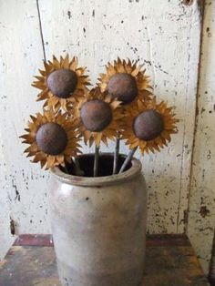 Primitive Rustic Sunflowers Pokes Country Fall Decor