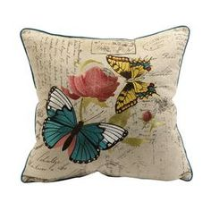 Cotton-linen pillow with embroidered butterfly motif.   Product: PillowConstruction Material: Cotton and linenColor: CreamFeatures: Insert includedDimensions: 18 x 18