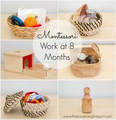 Montessori Work Shelves at 8 Months. Easy ideas for Montessori babies.