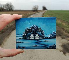 MS_art / Modrá - miniatúrna maľba