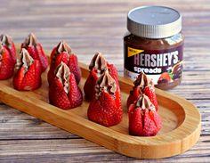 Chocolate Cheesecake Stuffed Strawberries with Hershey's Spreads Chocolate