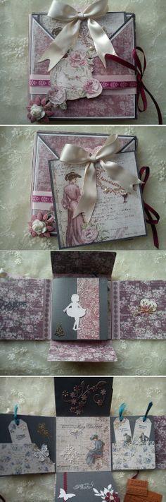 Mini album de conception très originale ( fermé on dirait une boîte ) avec une carte tag glissée à l'intérieur de la couverture. Le livret intérieur est composé de plusieurs volets et comporte un micro-album pour 2 photos.