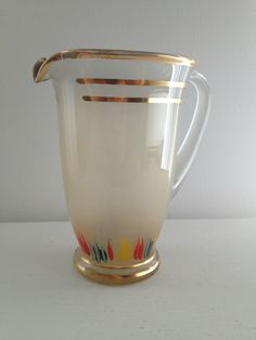 vintage gold rimmed hand painted pitcher/jug by RosyRandom on Etsy, $45.00