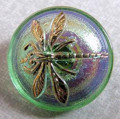 1 pcs Czech Hand Made Art Glass Button Dragonfly Round 18 mm Green AB