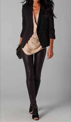 26 Great Fall Outfits: Ideas To Try Already This Autumn/Winter Season: Woman in black leather pants, draped beige top and black blazer with black peep-toe shoes