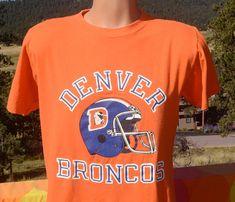 7b2eff0a9 vintage 80s t-shirt denver BRONCOS football helmet nfl tee champion Large  Medium soft thin