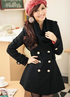 Black Double Breasted Fashion Coats  Item Code:#MM3323+Black        Wholesale Price: US$32.90    Shipping Weight: 2KG