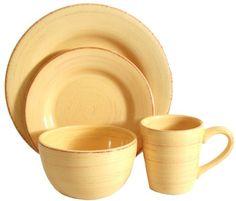 Tag Sonoma Ironstone Ceramic 16-Piece Dinnerware Set, Service for 4, Yellow