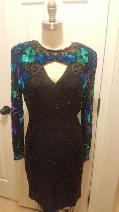 vintage  beaded dress   | eBay Old School Fashion, Mother Of The Bride, Lace Shorts, Sequins, Formal Dresses, Sleeves, Vintage, Ebay, Women