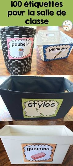 Labels for school materials and objects in the classroom, Art Education, Classroom Organisation, Classroom Supplies, Classroom Management, Classroom Labels, School Supplies, French Teacher, Teaching French, Kindergarten Lesson Plans, Kindergarten Classroom