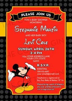 mickey mouse baby shower invitation by on etsy