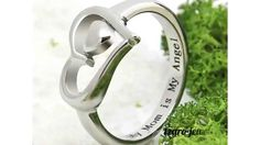 """Double Heart Ring - Silver Mother Ring Engraved """"My Mom is My Angel"""", Ring Sizes 6 to 9 Mother Daughter Jewelry, Mother Jewelry, Sister Jewelry, Mother Rings, Mom Ring, Ring Ring, Steel Gifts, Best Gifts For Mom, Mother Birthday Gifts"""