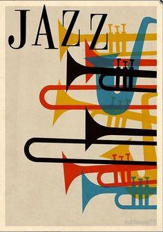 jazz music spirit sax trumpet horn saxophone french beatnik vintage retro hip hep 1950s 50s poster graphic 1950's 50's red blue yellow black festival