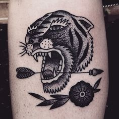tiger tattoo black traditional dot shading