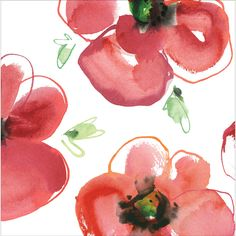 Red and white Kathy Davis Mod Poppies Lunch Napkins are sold 18 per package