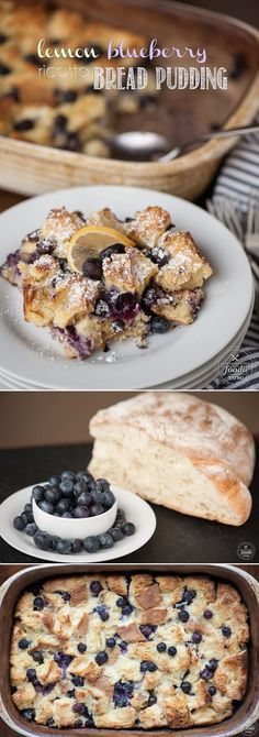 This Lemon Blueberry Ricotta Bread Pudding made with fresh berries is a rich and delicious make ahead breakfast casserole your family will love.