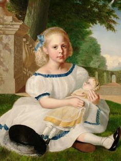 Continental School, 19th Century «Portrait of a young girl, seated in a garden, holding a doll»