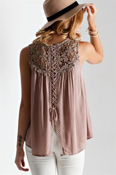 Crochet Lace-Up Back Top - Pre Order