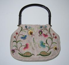 Vintage Beige Linen Knitting Bag/Purse Tote With Embroidered Flowers~~