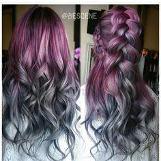 30 Purple Hair Designs We Wish We Had – Page 2 – CherryCherryBeauty Hair Color And Cut, Cool Hair Color, Hair Colors, Colours, Ombré Hair, Hair Dye, Blonde Hair, Coloured Hair, Mermaid Hair
