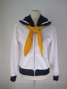 Soldier of Flight. Be a pretty sailor soldier in this Sailor Uranus Seifuku Hoodie! The navy blue sailor collar is inspired from Japanese school uniforms with a white strip that wraps around the front