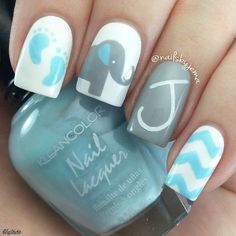 Don't walk into a baby shower with everyday looking nails. Choose one of these super cute baby shower nail designs to make your nails look baby shower special. How To Do Nails, Fun Nails, Pretty Nails, Baby Boy Nails, Baby Shower Nails Boy, Baby Nail Art, Boy Shower, Elephant Nails, Elephant Theme