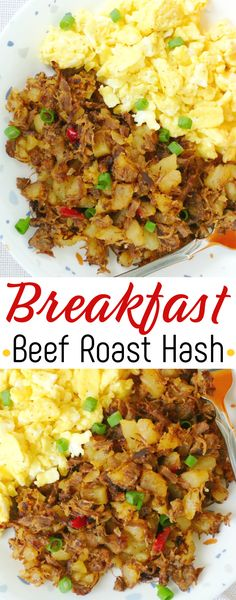 Use your leftover beef roast and potatoes in this delicious breakfast beef roast hash! Pure old school comfort food that's great with a fried egg on top, scrambled eggs on the side, cheddar cheese or sliced green onions on top! Pork Recipes For Dinner, Italian Dinner Recipes, Beef Recipes, Cooking Recipes, Vegan Recipes, Best Breakfast Recipes, Brunch Recipes, Hash Recipe, Recipe Box