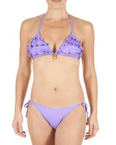 Beautiful Sexy Bikini Purple Halter Neck Top With Twin Tie Bottoms Clothing, Shoes & Accessories Women's Clothing