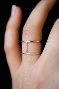 Sterling Silver Cage ring double bar ring silver por hannahnaomi