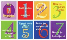 Unitarian Universalist Seven Principles simplified for the younger set with a nice design - love this!