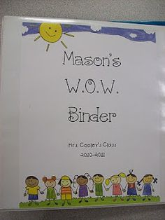 Let me introduce you to...THE WOW BINDER!  WOW= We Organize Work.  The kids take home this binder every night, and they leave it on my small group table as soon as they walk in the door in the morning.  I check through the binder for lunch money, notes from home, homework, and to see if they have completed their reading log