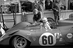 Brands Hatch BOAC 500 1969  Pedro Rodriguez in the ferrari 312p at the pit stop.