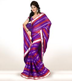 Purple Chiffon Printed Saree With Blouse 58423