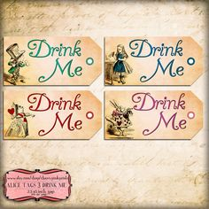 Alice Tags DRINK ME Set 3, Alice in Wonderland Tags, labels, perfect for parties, presents and invitations.