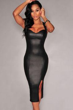 Black Faux Leather Key-Hole Back Padded Midi Dress US$22.87