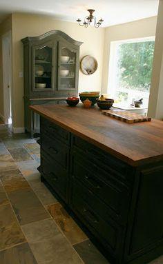 Beautiful Mouse Droppings   Antiqued Oil Rubbed Black Kitchen Cabinets And Island  With Walnut Butcher Block Top