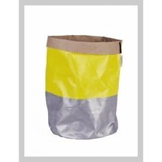 Yellow and Silver Painted Canvas BagIndividually handpainted 'bucket', made from artist's canvas. A multipurpose storage vessel perfect for hiding plastic plant pots or keeping the studio tidy! This piece is water resistant and should not be immersed