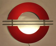 Contemporary metal wall art - Metallic red and stainless, lighted design