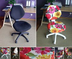 Join our community and discuss all things crafty. Office Chair Makeover, Furniture Makeover, Diy Furniture, Diy Arts And Crafts, Fun Crafts, Reupholster Furniture, Sewing Rooms, Repurposed Furniture, Decoration