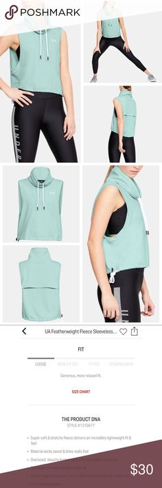 """Under Armour """"Featherweight Fleece Funnel Neck"""" Under Armour """"Featherweight Fleece Funnel Neck Vest"""" in a mint green color, size small. Brand new release. Paid $55 and only wore once. Under Armour Jackets & Coats Vests"""